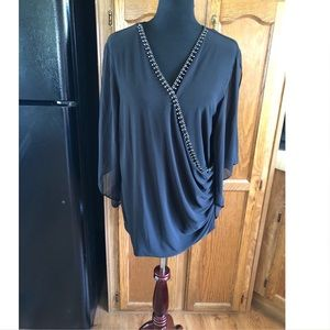 Dressbarn Black Beaded Neckline Top Size 2X